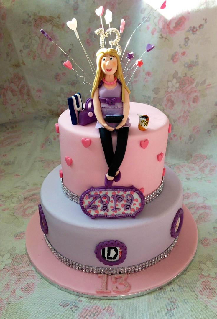 Girls 2 Tier 13th Birthday Cake Gaynor S Creations My Cakes