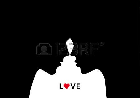 Kissing couple man and woman in love vector illustration Stock Vector