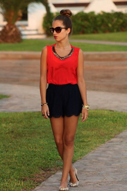 Lace shorts is too short but pretty + red blouse is really nice.