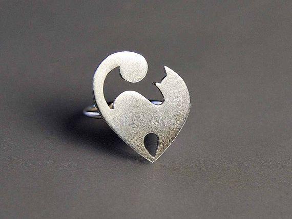 Declaración anillo plata orfebrería joyería por thisandthatgallery