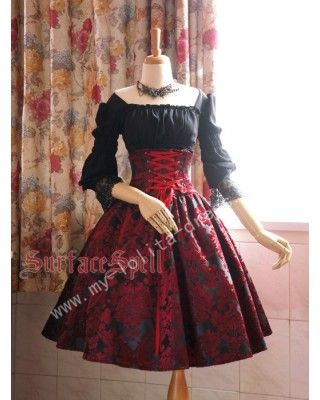 Surface Spell Dark Prints High Waist Lolita Skirt $61.99-Cotton Lolita Dresses - My Lolita Dress