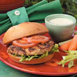 Cajun Chicken Sandwiches:  pound down skinless boneless chicken breast, use Kick'n Chicken seasoning by Weber and rub generously into chicken.  Grill until juices run clear.  My family LOVES this sandwich!