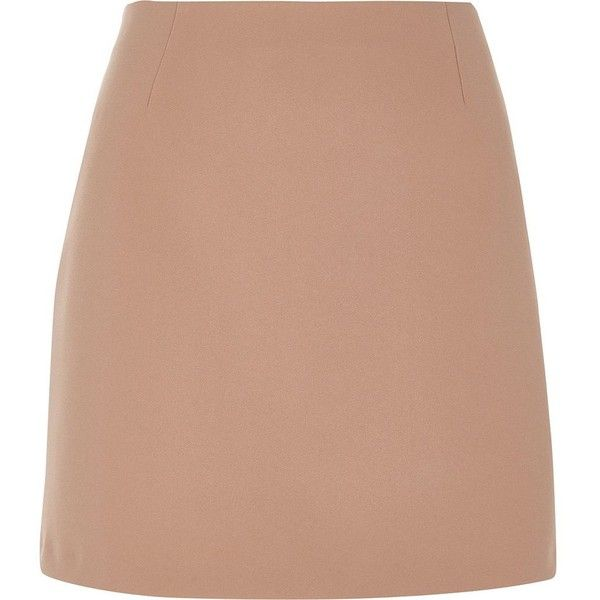 River Island Blush pink A-line mini skirt (£28) ❤ liked on Polyvore featuring skirts, mini skirts, a line mini skirt, short skirts, short mini skirts, beige skirt and pink a line skirt