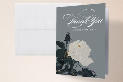 """Romanticism"" - Floral & Botanical Thank You Cards in Slate by Annie Walker."