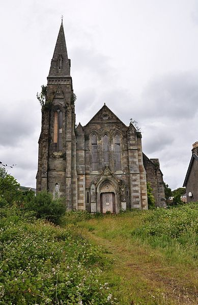 The derelict St. George's church in Lamlash, Isle of Arran, Scotland. It is on the seafront and has been abandoned since 1947