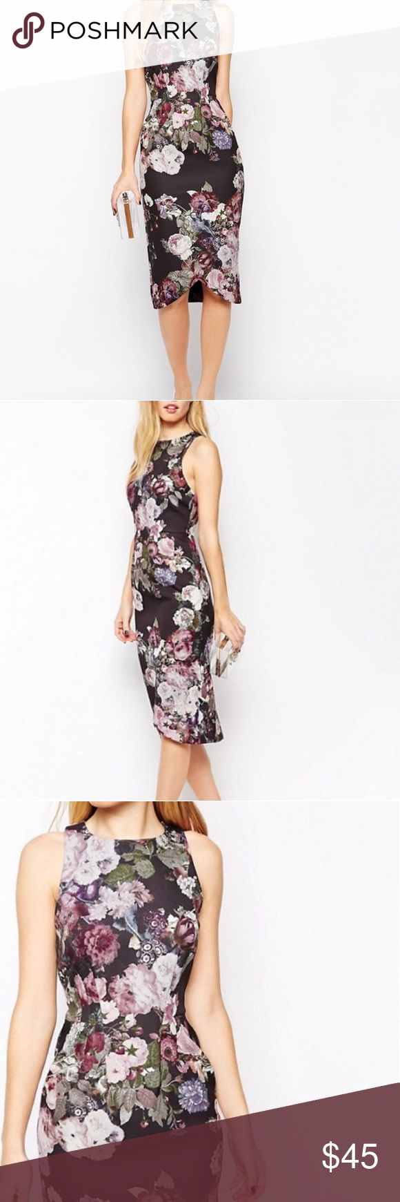 ASOS | Floral Scuba Dress Lovely and classy yet curve hugging to add some intrigue!  * Florals in purple/pink hues * High neck * Poly/elastane blend  * Cutaway shoulders w/low armholes (see last pic) * Tulip hem comes up in front * Back vent * Hidden back zip * I found the sizing a bit unusual on this dress so plz be sure to compare measurements   L 42-46"