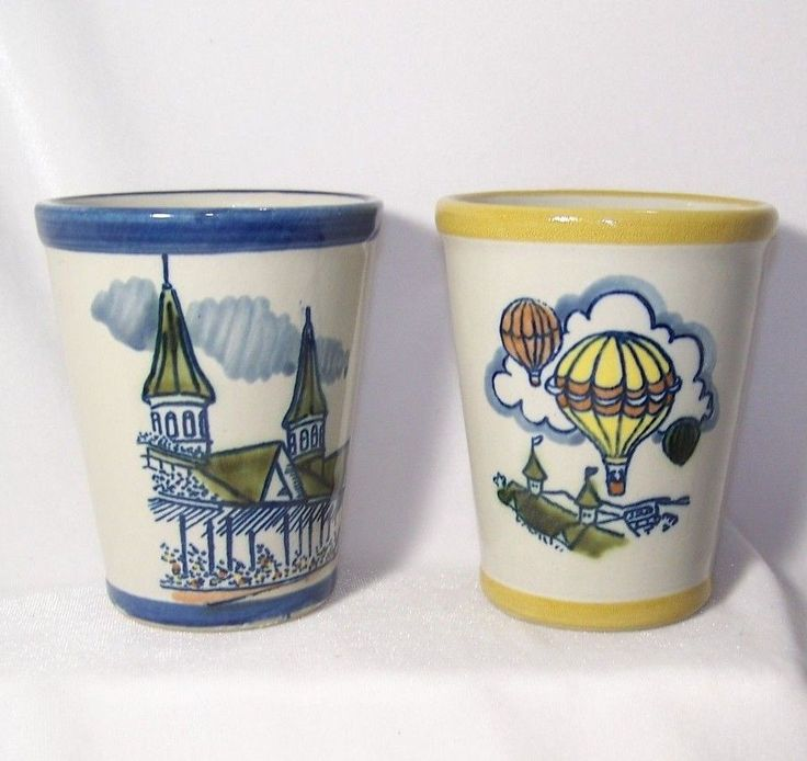 2 Louisville Stoneware Kentucky Derby Mint Julep Cups Churchill Downs Spires #LousivilleStoneware