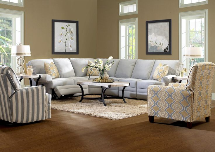 Klaussner Belleview Classic Reclining Sectional Sofa with Rolled Arms - AHFA - Reclining Sectional Sofa Dealer Locator