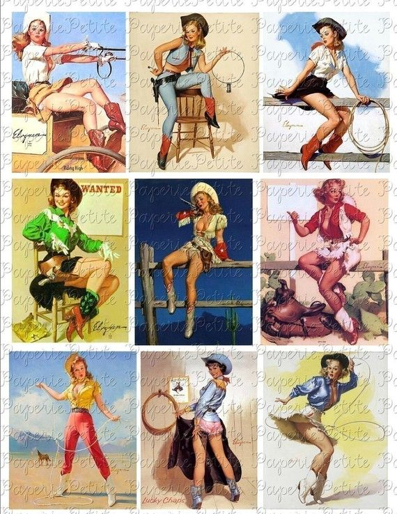 Cowboy Cowgirl PinUp Girls Digital Download by PetitePaperie, $2.95