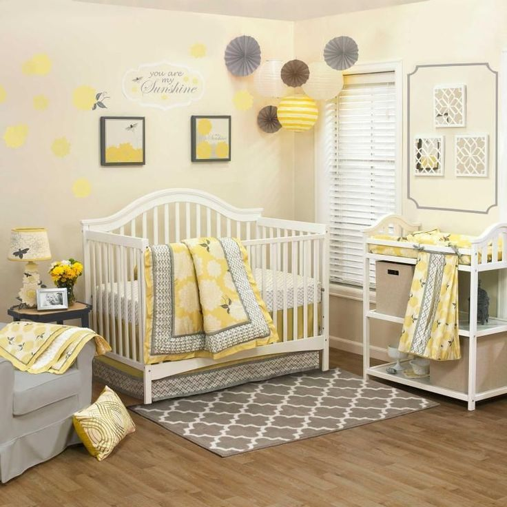 Floral Yellow And Gray Infant Baby Girls Nursery 4 Piece