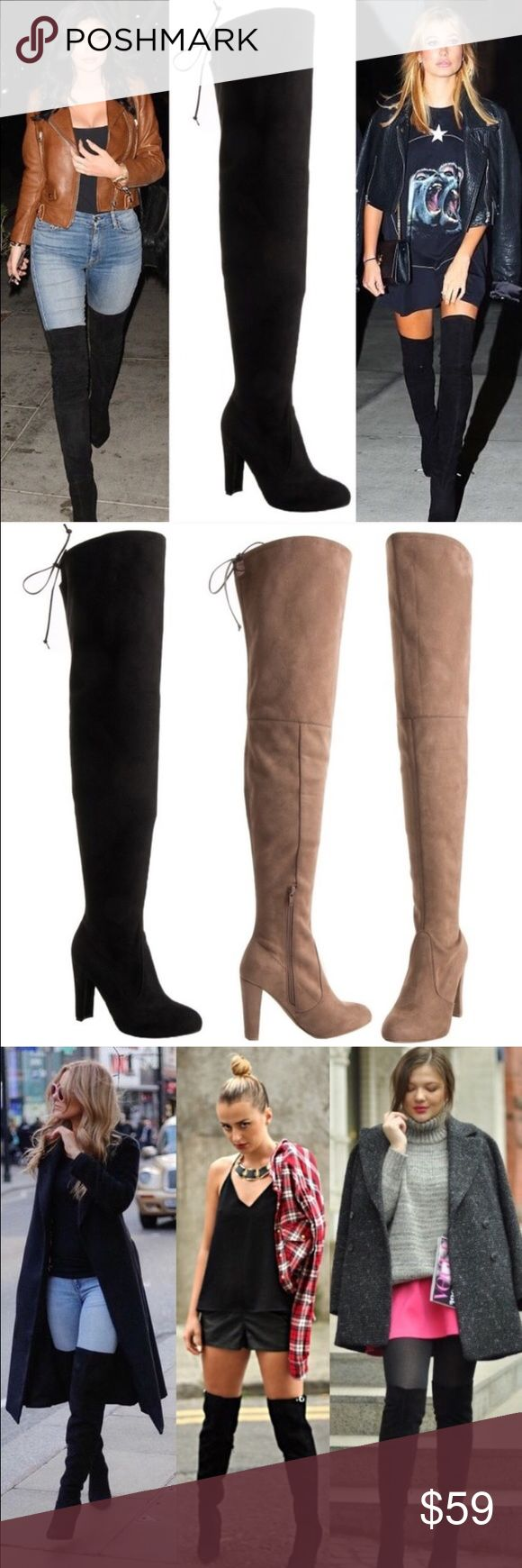 """30"""" Thigh High HOST PICK DON'T BUY IF YOU DON'T WANT VERY TALL SHAFTS! Faux suede upper and wrapped heel. Adjustable drawstring/cord. 4"""" heel. Zipper runs from footbed to mid leg. Calf, 15"""". Top of shaft, 19"""". Total height from heel tip to top of shaft, 30 1/2"""". CENTER IMAGE 1, IMAGE 2, IMAGE 4 SHOW ACTUAL BOOT STYLE FOR SALE. Image 3, image 1 left & right are for styling ideas only. As with all merchandise, seller not responsible for fit nor comfort. ♠️THIS LISTING IS FOR BLACK♠️…"""