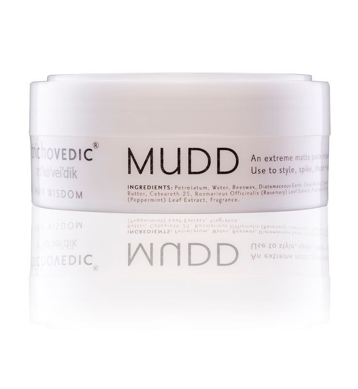 Mudd - 100gm. An Extreme Matte Mudd Containing Petrolatum, Beeswax, Dietomaceous Earth and infused with Sage, Rosemary and Peppermint Oil. Use for ultra matte styling and shaping. #hair #hairproduct #hairproducts #hairstyling #haircare #hairstyle #hairfashion #hairstylist #hairstyles #hairfashion #hairdressing #trichovedic