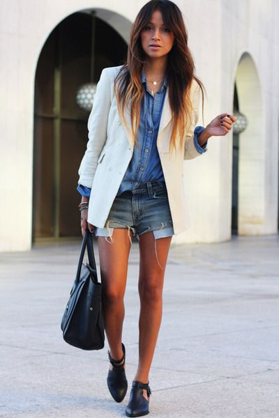 Ombre hair, hombre style: Chic Outfit, Denim On Denim, Denim Jeans, Outfit Idea, White Blazers, Denim Shirts, Ombre Hairs, Denim Shorts, Cut Off