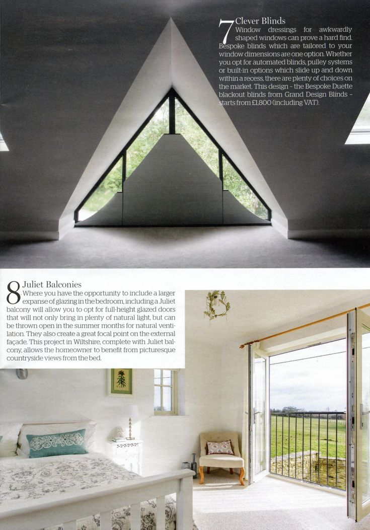 This design the Bespoke Dueyye blackout blinds from Grand Design Blinds works perfectly for an awkwardly shaped window. http://granddesignblinds.com/ Homebuilding & Renovating April 2018
