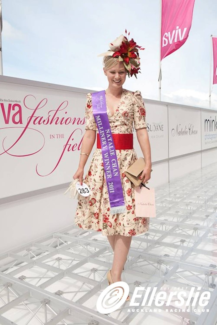 Maria Wright - winner of the Natalie Chan Millinery category at Ellerslie's Viva Fashions in the Field competition - the competition is part of the fun and festivities of The New Zealand Herald Christmas Carnival Boxing Day Races