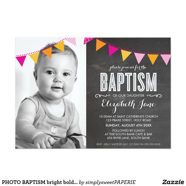 """PHOTO BAPTISM bright bold bunting chalkboard Card A cute, patterned bunting design for your child's BAPTISM INVITATIONS. Wow your friends and family with this little number ;DSetup as a template it is simple for you to add your own details, add your photo or hit the customize button and you can add or change text, fonts, sizes etc  TIP - hit the """"customise it"""" button to move all elements including the photo, size of the text and change fonts / colors.  Love the design, but would like to see…"""