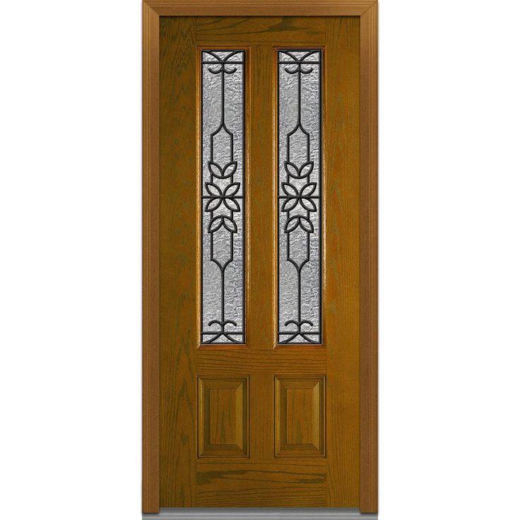 Milliken Millwork 36 in. x 80 in. Mediterranean Decorative Glass 2 Lite 2-Panel Finished Oak Fiberglass Prehung Front Door, Dark Walnut