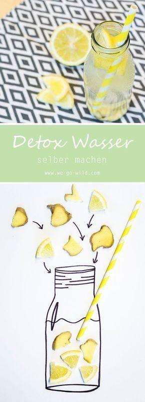 Ein leckeres Detox Wasser Rezept zum Abnehmen. Man nehme: Zitrone, Ingwer und Sprudelwasser (oder stilles Wasser) Das Zitronenwasser morgens und über den Tag verteilt trinken.
