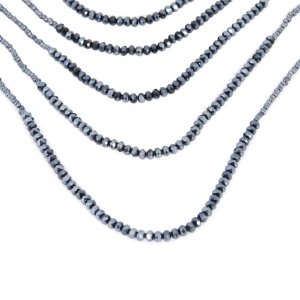 """Passionate Long Multitier Beaded Necklace for Women 37"""" Urban Jewelry (Black)"""