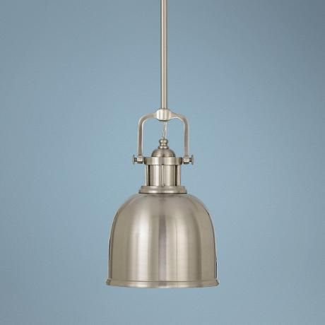"Parker Place Solid Brushed Steel 8"" Wide Mini Pendant  Light -"