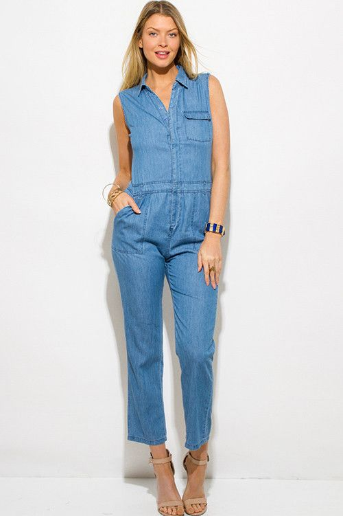 Blue Chambray Sleeveless Button up Pocketed Utilitarian Jumpsuit