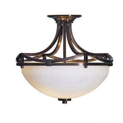 allen + roth 13-in Leanne Light Oil-Rubbed Bronze Frosted Glass Semi-Flush Mount Light