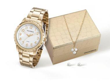 94910LPMKDE1K1 Relógio Feminino Mondaine Analógico Dourado com Kit Colar e Brinco | Guest Club