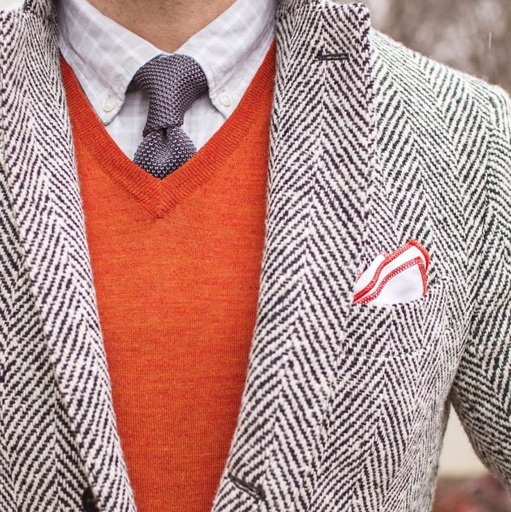 Orange sweater, herringbone overcoat and charcoal knit tie   |   Brilliant Winter Layers without looking drab.