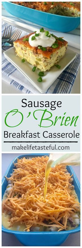 Sausage O'Brien Breakfast Casserole - This savory breakfast casserole is filled with sausage, potatoes O'Brien, green chiles, eggs, and topped with cheddar cheese.