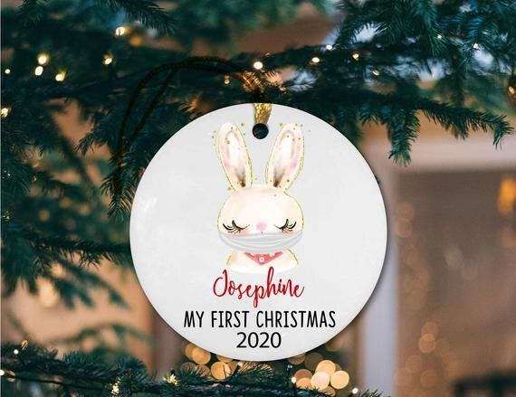 Baby/'s First Christmas Ornament First Christmas First Christmas Ornament Baby Baby Shower Gift Baby Girl Personalized Bunny Ornament