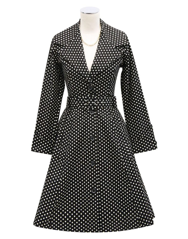 Kitten D'Amour Spot Coat - new vintage pinup rockabilly - evening wear, spotty, polka dot Buy Recent Collections: http://www.kittendamour.com/brand_collections Buy & Sell Old Collections: https://www.facebook.com/groups/1384135828515551/