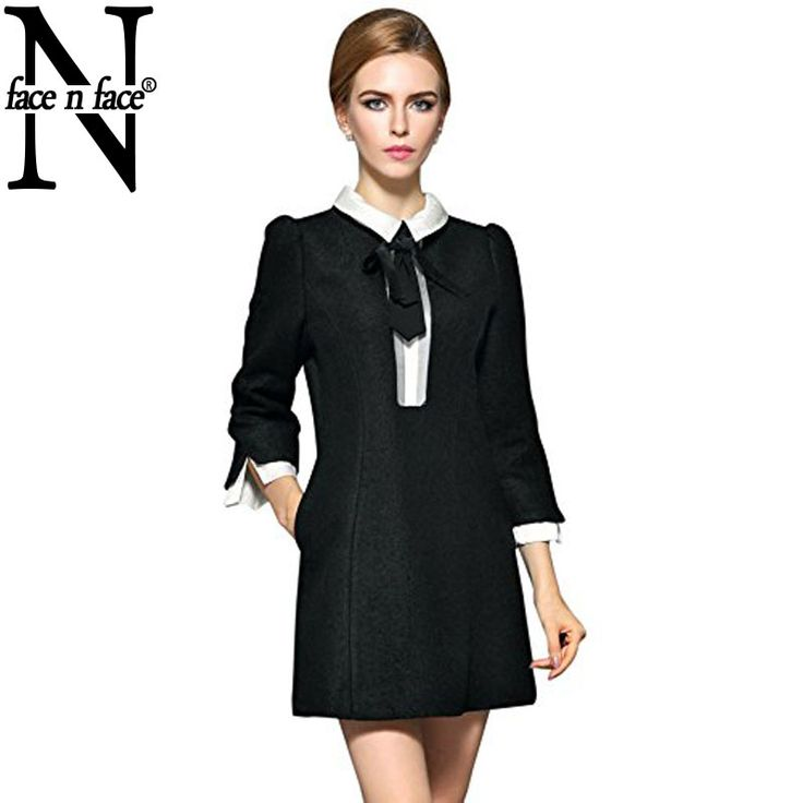 Face N Face Plus Size Women Fashion Elegant Black Patchwork Autumn Winter Vintage Straight Long Wool Dress-in Dresses from Women's Clothing & Accessories on Aliexpress.com | Alibaba Group