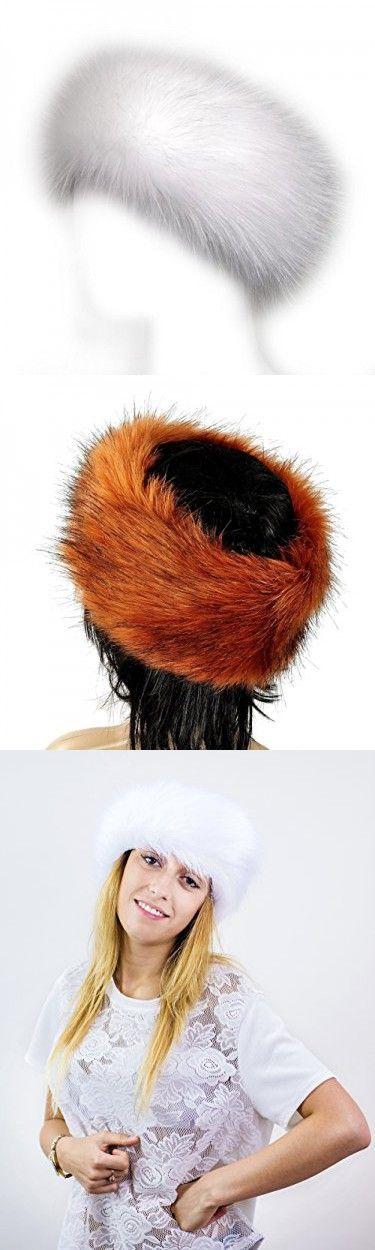 Futrzane Faux Fur Headband For Women Winter Earwarmer Earmuff Hat Ski (White)
