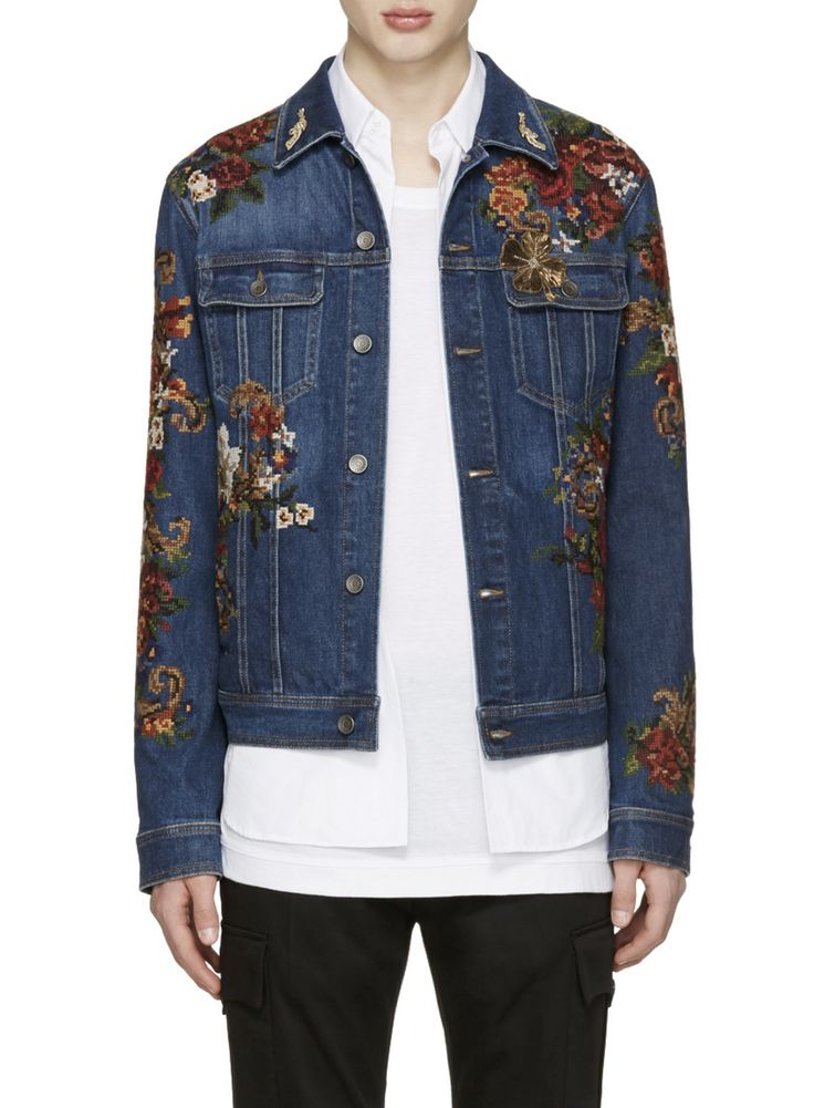 Dolce & Gabbana embroidered denim jacket from SSENSE (men, style, fashion, clothing, shopping, recommendations, stylish, menswear, male, streetstyle, inspo, outfit, fall, winter, spring, summer, personal)