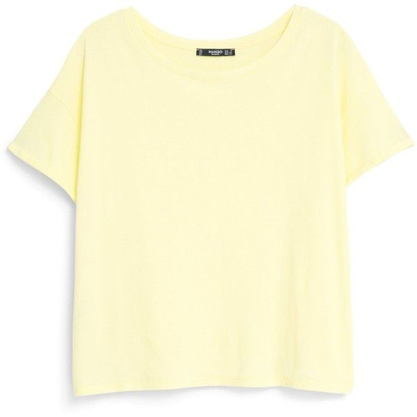 Mango Cotton t-shirt (£6.99) ❤ liked on Polyvore featuring tops, t-shirts, shirts, women, yellow, mango t shirt, yellow tee, short sleeve t shirts, roll top and cotton tee