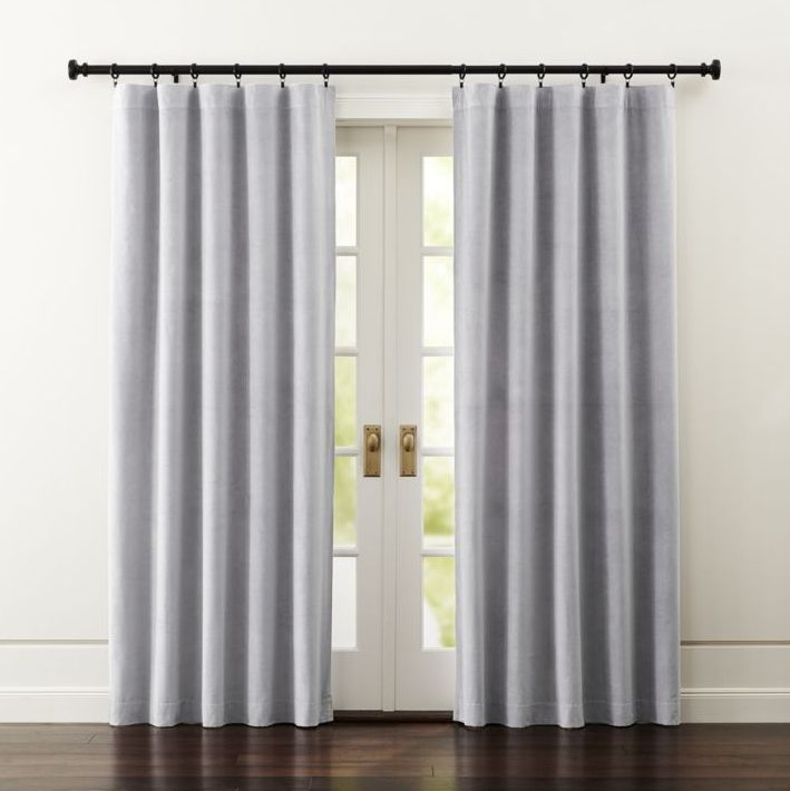 Luxurious Light Grey Velvet Curtain Panels Frame Windows In A Lush, Plush  Light Grey.