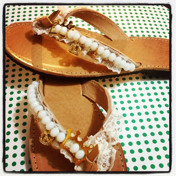Handmade sandals with white lace, crystals and gold charms (crowns). Can be also worn in weddings.