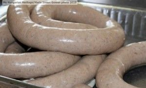 Házi Májas Hurka - Homemade Hungarian (Liver and Rice Pudding) Sausage; Recipe and Photo By: Marie Simon Gowan