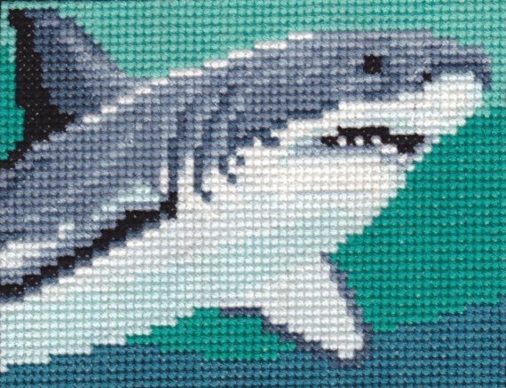 Great White Shark counted crossstitch chart by 5PrickedFinger5, $3.50