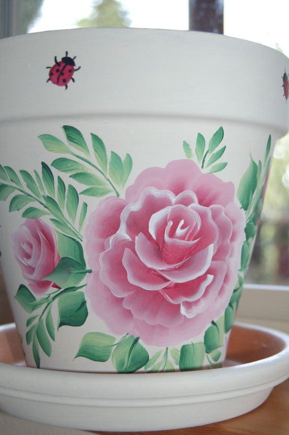 6'' or 8'' Hand Painted clay flower pot Roses by MountBlossom   Nice!!  This person has gotten goooood at one stroke.