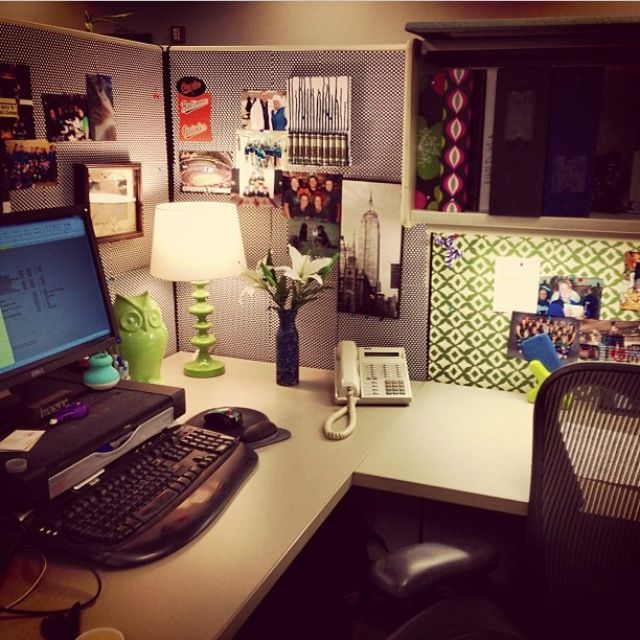 Cubicle decor - I like the desk lamp, plant, wallpaper, and.... the owl