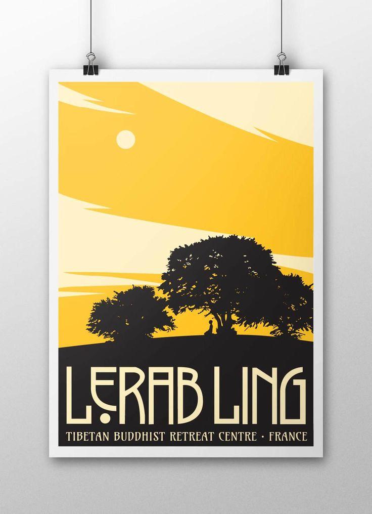 Lerab Ling Hilltop Poster by samuelhorwooddesign on Etsy