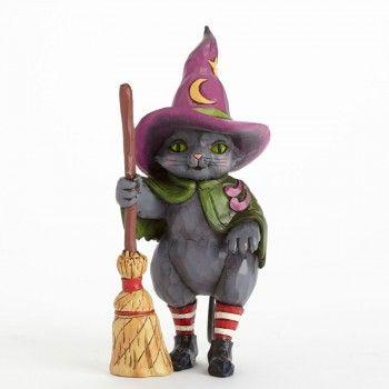 Hocus Pocus-Witch Cat With Broom Figurine