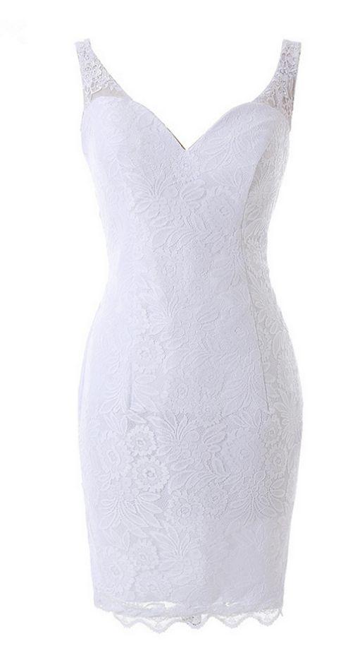 Short white dress Baile straps pearl, back open