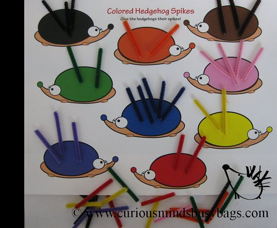 Color Match Hedgehog Spikes Quiet Activity by CuriousMindsBusyBags, $5.00
