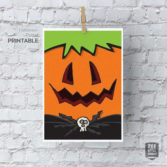 Happy Halloween printable sign Trick or Treat by zeewilldraw