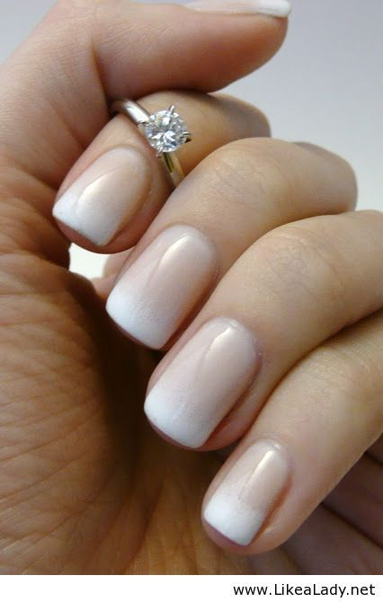 Ombré French manicure and a gorgeous ring