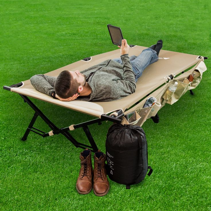 Folding Camping Bed With side Organizer Storage Durable