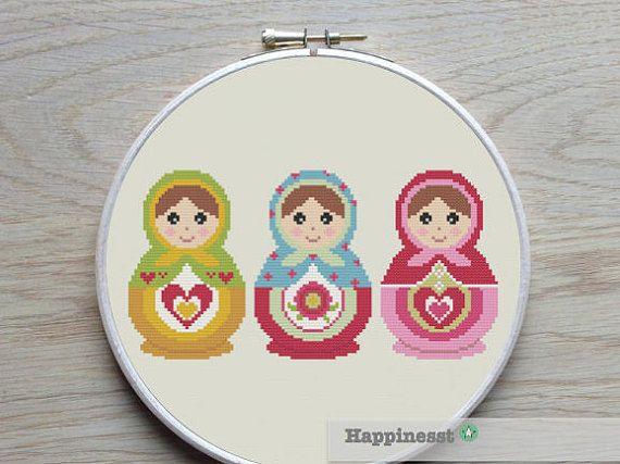 cross stitch pattern Matryoshka dolls, modern cross stitch, Russian dolls,  PDF,  ** instant download**