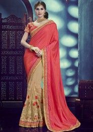 Designer Pink And Beige Colored Silk And Net Saree